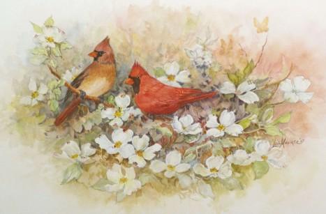 Cardinals and Dogwood copy